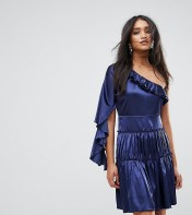 Lioness Lioness Frill One Shoulder Tiered Mini Dress - Navy 2018