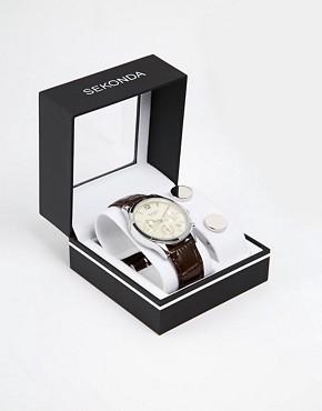 Image 1 ofSekonda Chronograph Watch & Cufflinks Gift Set