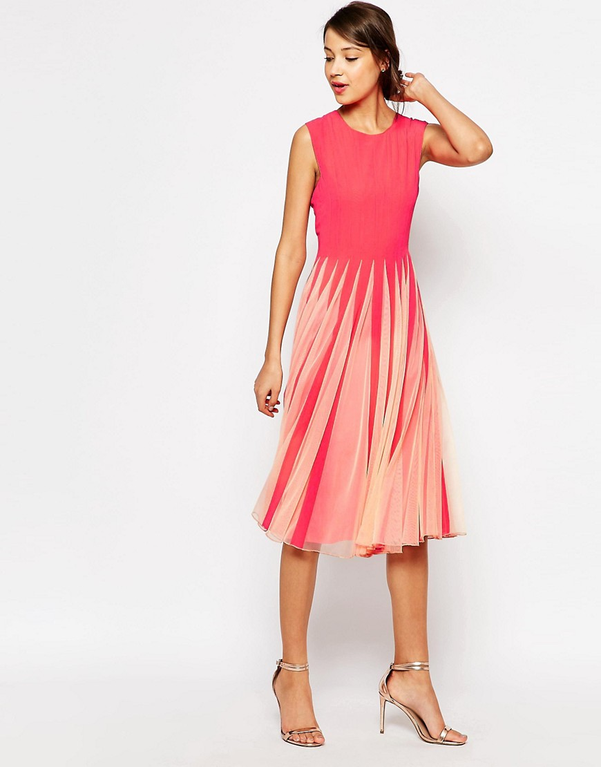 Image 4 of ASOS TALL Mesh Insert Fit And Flare Dress