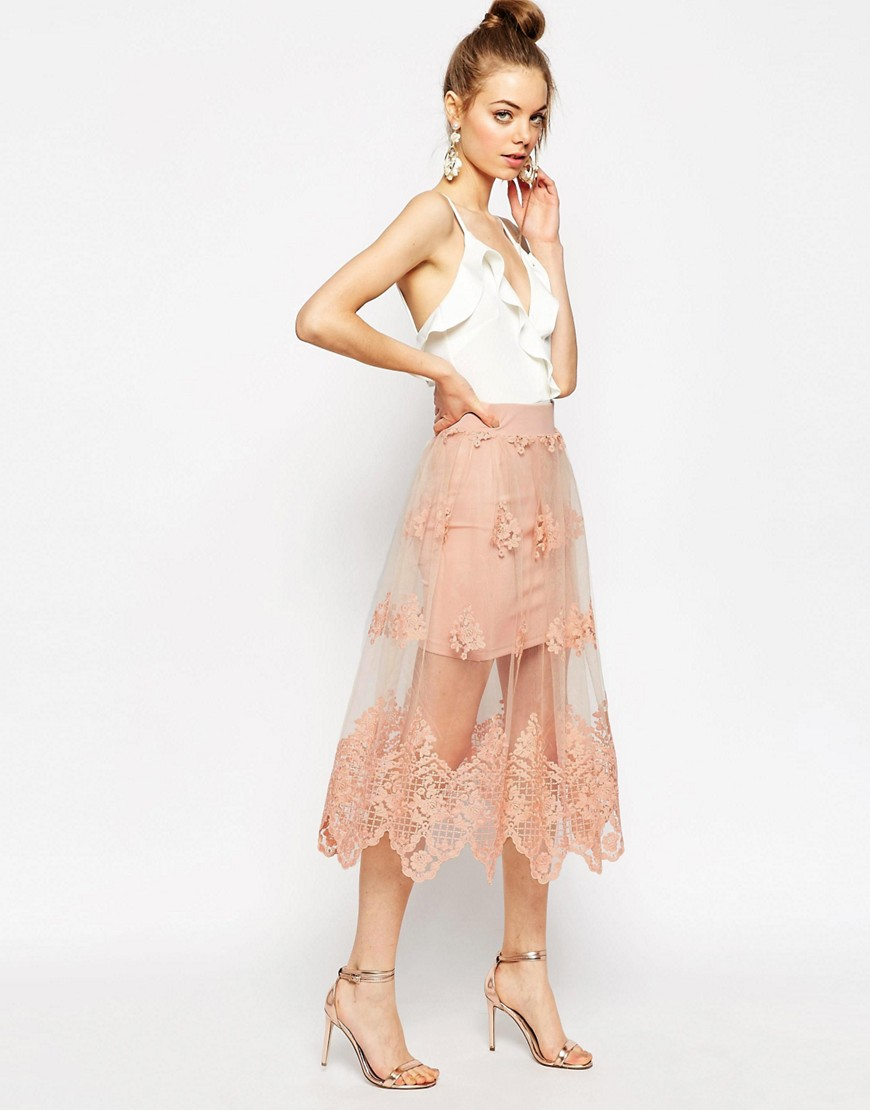 Image 1 ofASOS Prom Skirt in Embroidered Lace Mesh