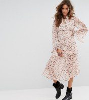Sacred Hawk Sacred Hawk Midi Smock Dress With High Neck In Floral - White 2018