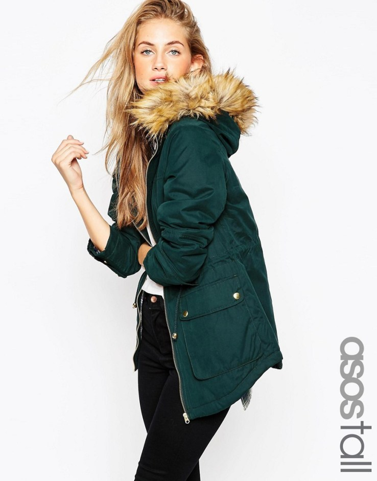 ASOS TALL Ultimate Shearling Parka in Bottle green