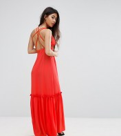 Boohoo Petite Boohoo Petite Cross Back Maxi Dress - Orange 2018