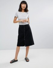 M.i.h Jeans Sonning Button Midi Skirt - Black