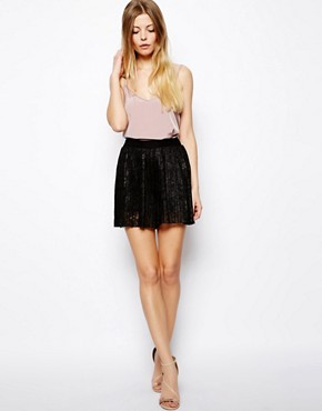 Image 1 ofASOS Culotte Shorts In Pleated Lace