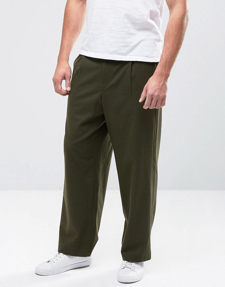 ASOS Wide Leg Suit Trouser in Green
