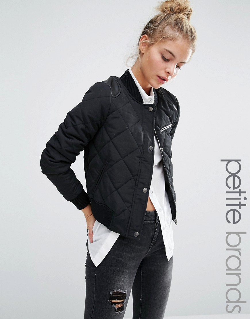 Image 1 of Noisy May Petite Quilted Bomber Jacket
