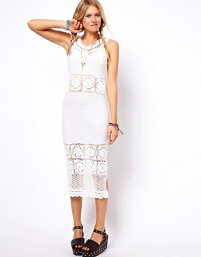Image 1 of ASOS Crochet Village Midi Dress With V Back And Neck
