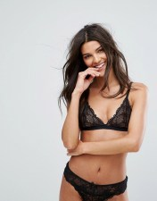 Bershka Lace Triangle Bra - Black