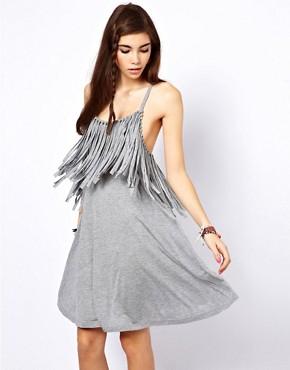 Image 1 ofASOS Swing Dress With Fringe Neckline
