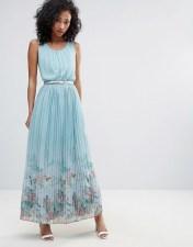 UTTAM BOUTIQUE Uttam Boutique Scenic Print Pleated Maxi Dress - Blue 2018
