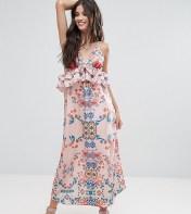 White Cove Petite White Cove Petite Frill Layered Maxi Dress In Bright Floral Print - Multi 2018