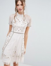 Frock and Frill Frock and Frill Floral Embellishment Skater Dress - Pink 2018