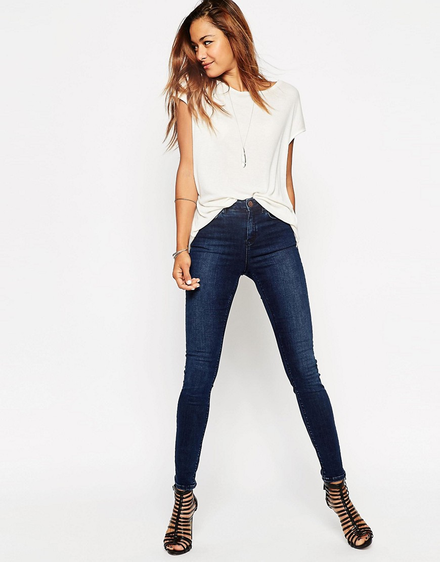 Image 1 of ASOS Ridley High Waist Skinny Jeans in Drew Dark Wash