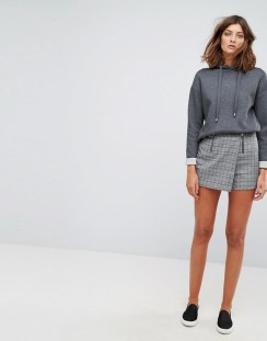 Stradivarius Check Double Zip Skort - Grey