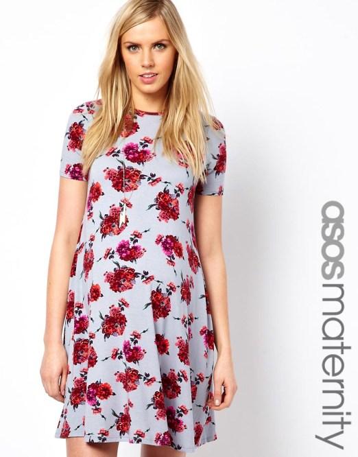 ASOS Maternity Swing Dress In Floral Print