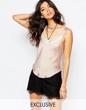 Reclaimed Vintage Silky Cami Top With Lace & Sexy Strap Detail