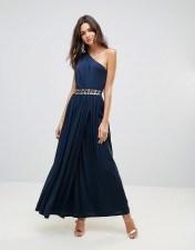 Girl In Mind Girl In Mind Abigail One Shoulder Embellished Maxi Dress - Navy 2018