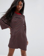 The Ragged Priest The Ragged Priest Oversized Save Your Breath T-Shirt Dress In Stripe - Black 2018