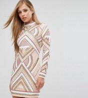 STARLET Starlet Long Sleeve Mini Dress in Allover Embellishment - Black 2018