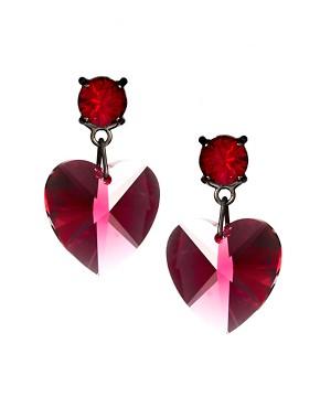 Image 1 - Krystal - Pendants d'oreilles cœur en cristal Swarovski - Rouge