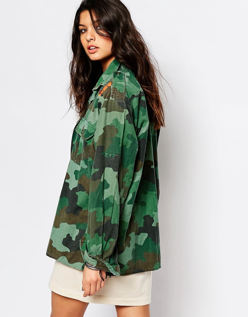 Image 2 of Milk It Vintage Oversized Camo Shirt Jacket With Jungle Snake