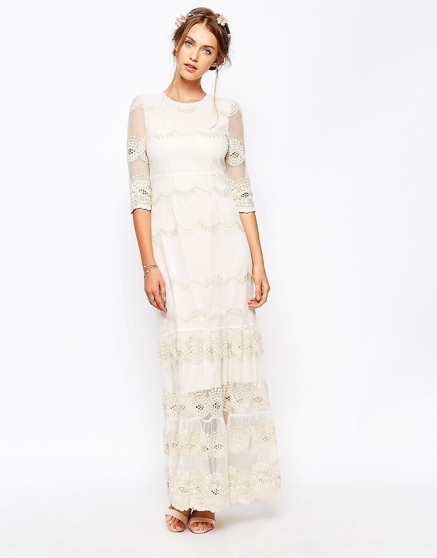 Image 1 ofSoma London Vintage Scallop Lace Maxi Dress