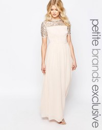 Maya petite chiffon embellished maxi dress nude 44.00 ...