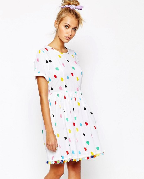Dress With All Over Pom Pom Print & Detail £65 by Lazy Oaf