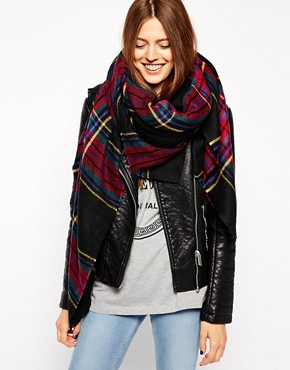 Image 1 of ASOS Oversized Black Check Square Scarf