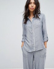 Abercrombie & Fitch Stripe Pyjamas Shirt - Blue