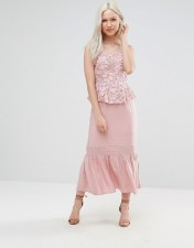 Foxiedox Foxiedox Primrose Lace Midi Dress With Peplum - Pink 2018