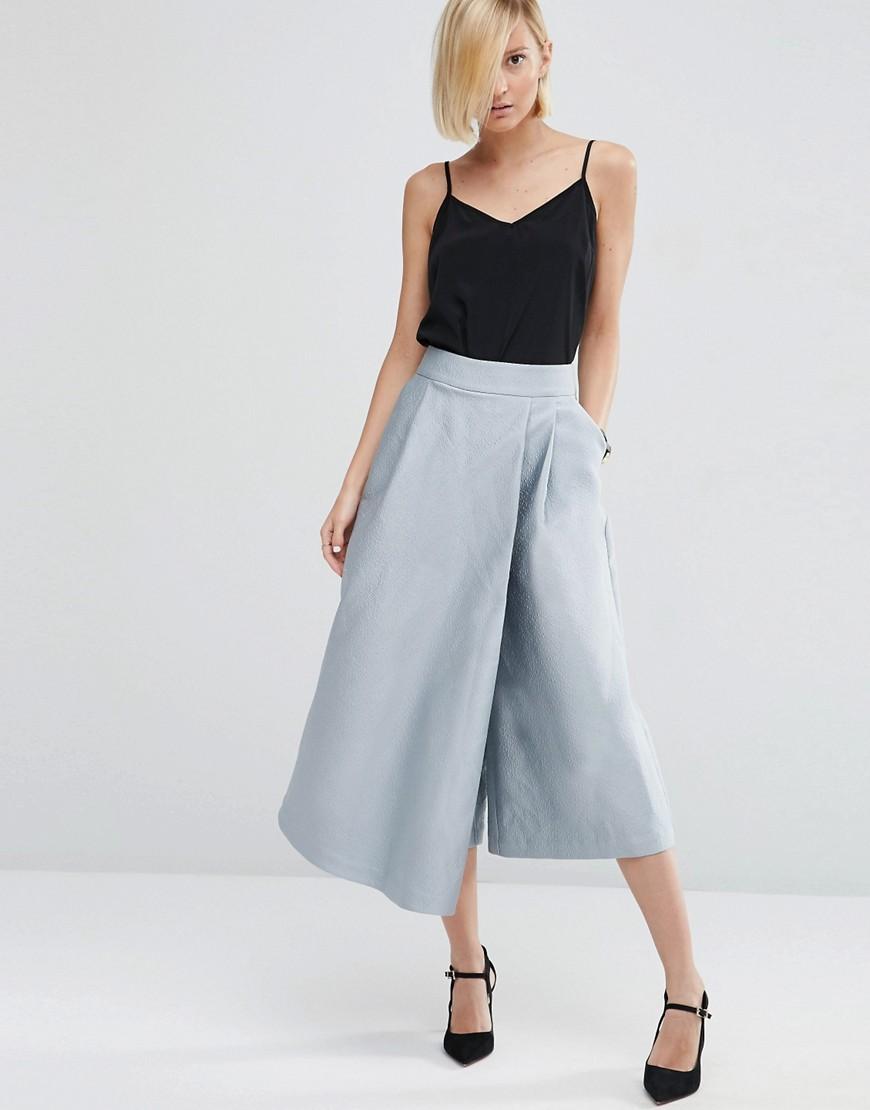 Image 1 ofASOS WHITE Textured Satin Wide Leg Culottes