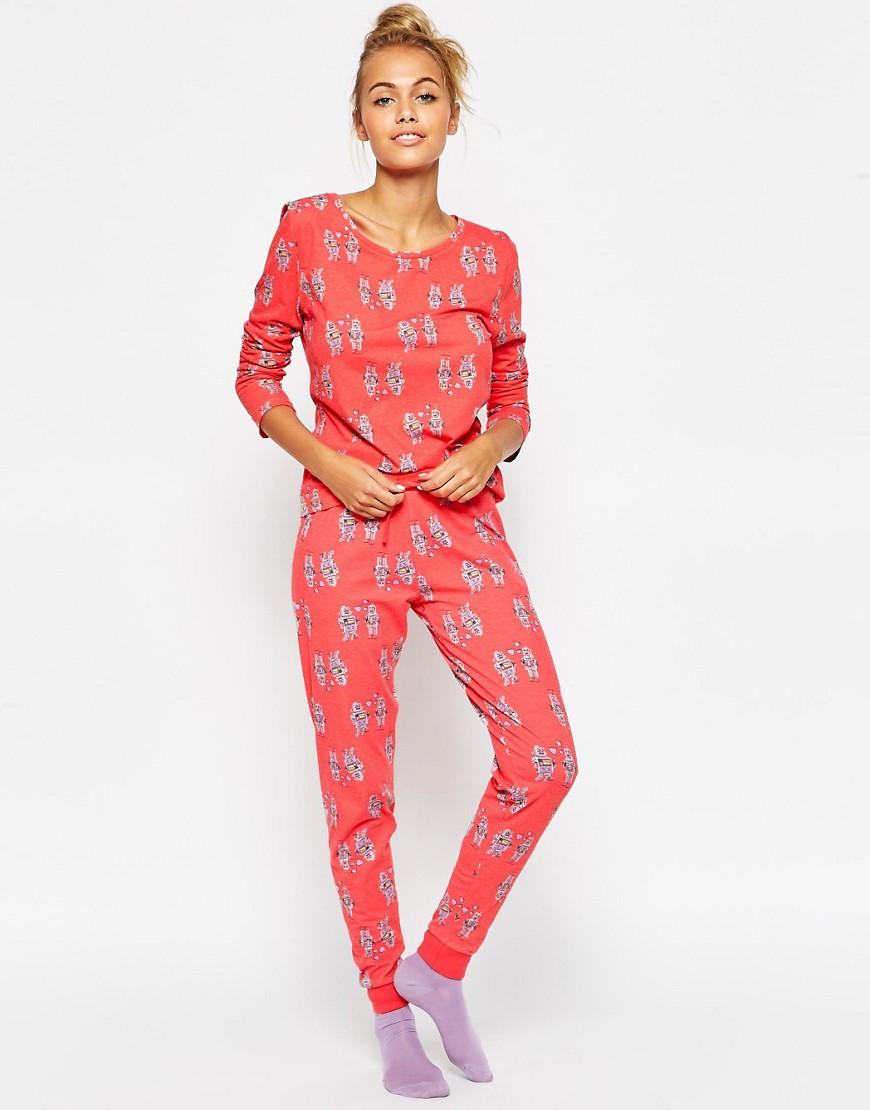 Image 1 ofASOS His & Her Robot Tee & Legging Pyjama Set