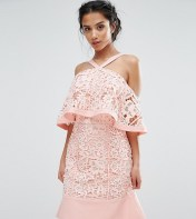 Jarlo Petite Jarlo Petite Cold Shoulder Cutwork Lace Mini Dress - Pink 2018