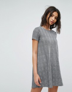 Stradivarius Check Short Sleeve Shift Dress - Grey