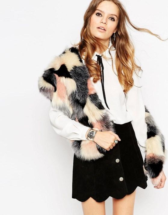 Image 1 ofASOS Faux Fur Scarf In Pastel Patchwork Design