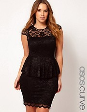 ASOS CURVE Exclusive Peplum Dress In Lace