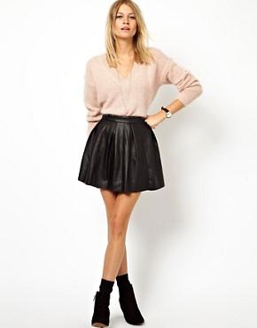 Image 1 ofASOS Skater Skirt in Leather Look