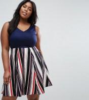 Closet Plus Closet Plus Skater Dress With Stripe Skirt - Navy 2018