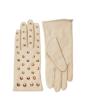 Image 1 of ASOS Leather All Over Stud Gloves