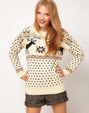 Image 1 ofASOS Reindeer Fairisle Jumper