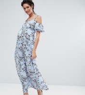 Queen Bee Floral Cold Shoulder Maxi Dress - Blue