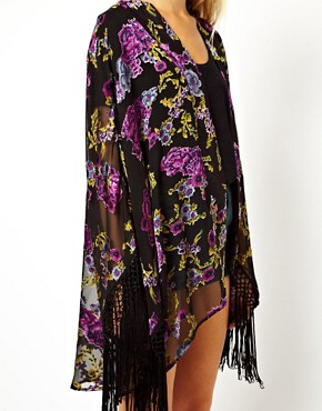 Image 3 of ASOS Kimono With Fringed Sleeve In Burnout Rose Devore