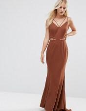 Jarlo Petite Jarlo Petite Strappy Maxi Dress With Waist Cutout Detail - Brown 2018
