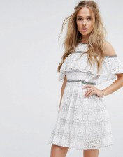 Foxiedox Foxiedox Cold Shoulder Lace Skater Dress - White 2018