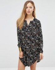 Only Only Printed Longline Shirt With Side Splits - Black 2018