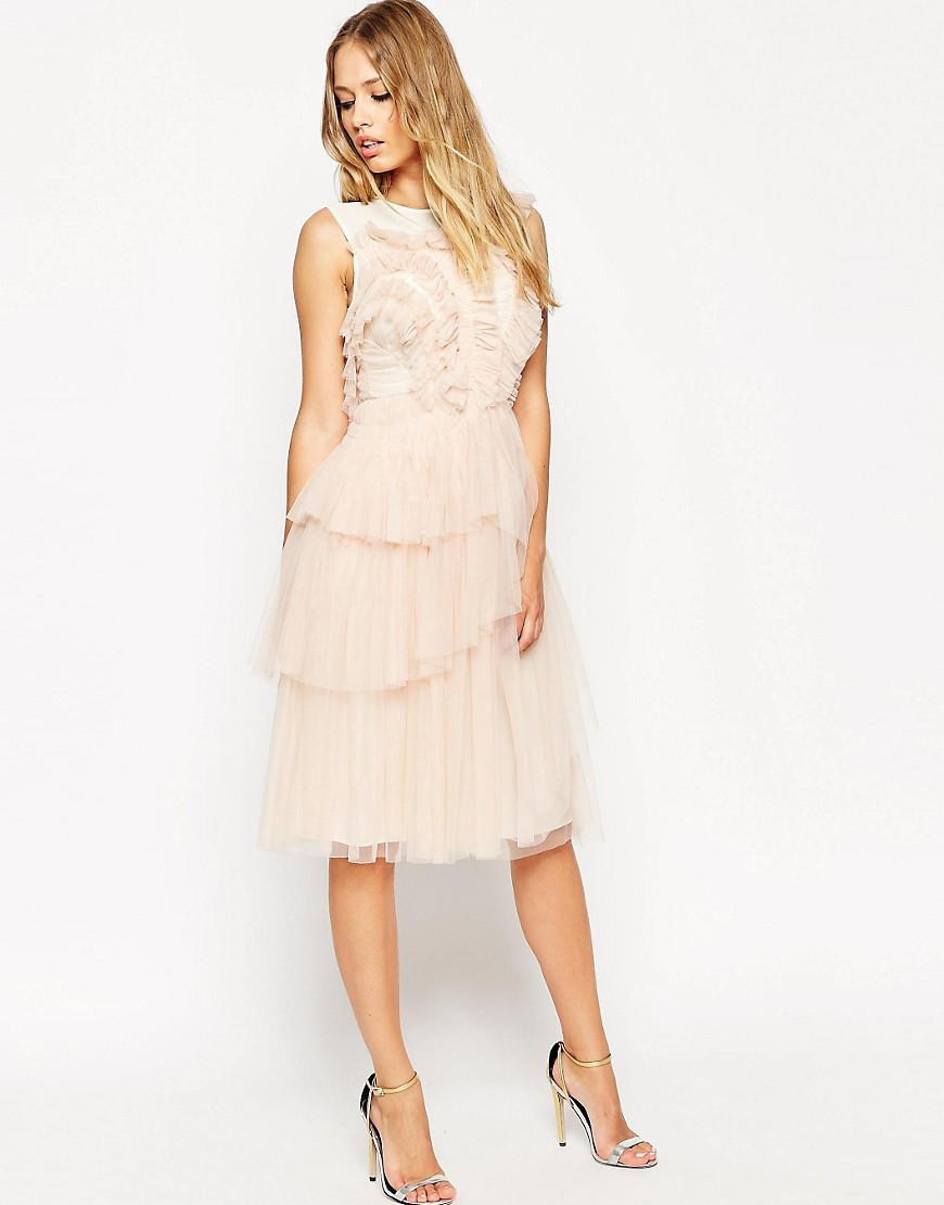 Image 1 of Needle & Thread Tulle Frill Midi Dress