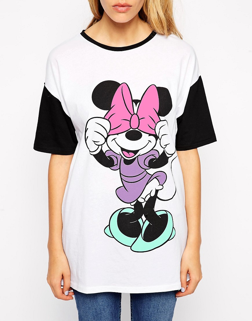 Image 3 ofASOS Tunic T-Shirt with Mickey and Minnie Front and Back Print