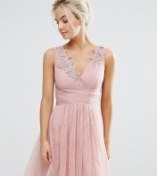 Little Mistress Petite Little Mistress Petite Full Prom Tulle Mini Dress With Lace Applique - Pink 2018
